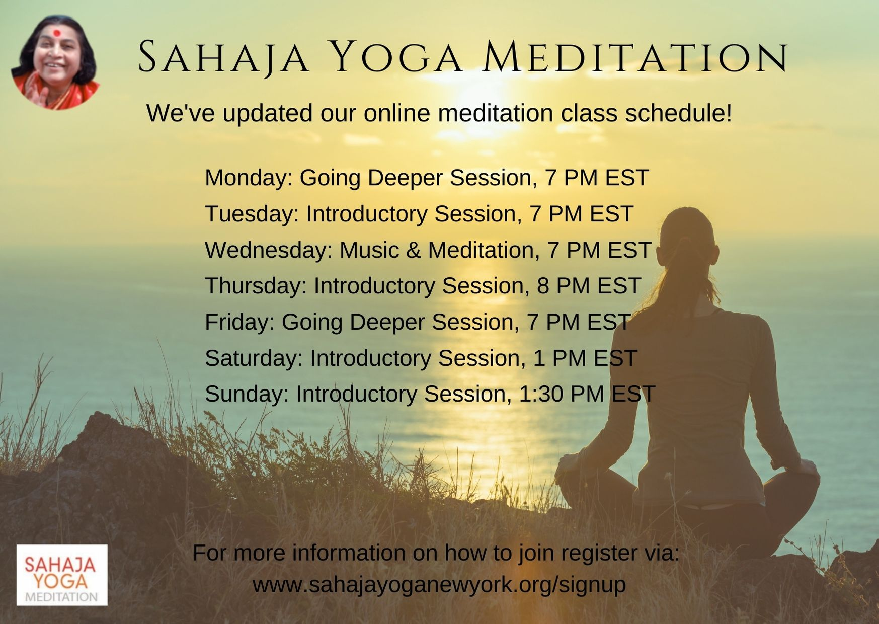 SY online meditation new schedule